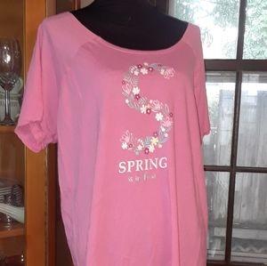 4/$15 size 1X plus pink floral night shirt